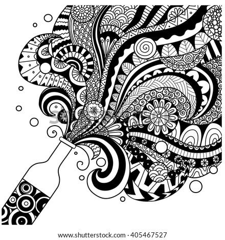 Champagne Bottle Line Art Design Coloring Stock Vector (Royalty Free ...