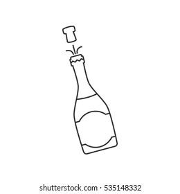 Champagne bottle line icon