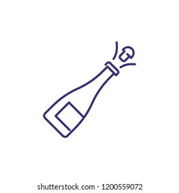 Champagne bottle line icon. Alcohol, splash, beverage. Celebration concept. Vector illustration can be used for topics like success, party, holiday