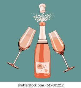 Champagne bottle opened with two glasses and bubbles. Vector illustration on turquoise background