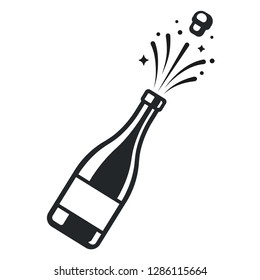 Champagne bottle pop open with cork and sparkles. Elegant black and white logo or icon vector illustration.