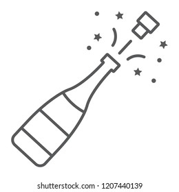 Champagne bottle pop thin line icon, alcohol and celebration, drink sign, vector graphics, a linear pattern on a white background, eps 10.
