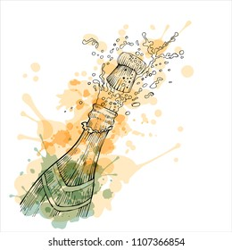 Champagne bottle popping with paint splatters, vector