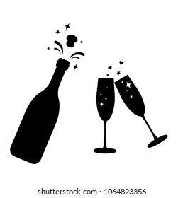 Champagne bottle vector glass icon.Bottle and two glasses black silhouette icons.Toast New Year.Bottle explosion cork.Flat cocktail silhouette glass.