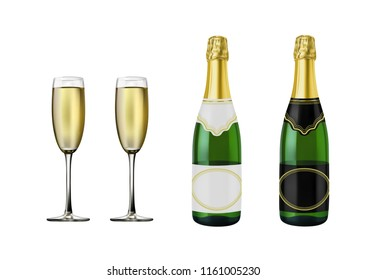 Champagne bottle in vector on white background.Champagne glass in vector on white background.