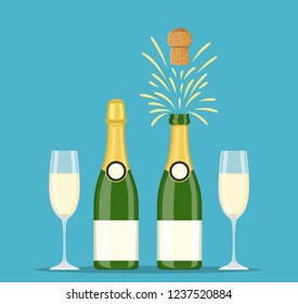 Champagne bottles and glasses icon set. Closed and opening bottle, and two flutes filled with sparkling wine. Vector illustration flat style