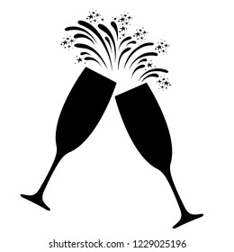 Champagne celebration icon. Clinking and toasting with two festive glasses of champagne and sparkling fireworks. Vector Illustration