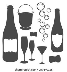 champagne elements vector