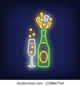 Champagne explosion and goblet neon sign. Christmas party or advertisement design. Night bright neon sign, colorful billboard, light banner. Vector illustration in neon style.