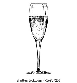 Champagne flute. Vector illustration of stemware in ink hand drawn style. isolated on white.
