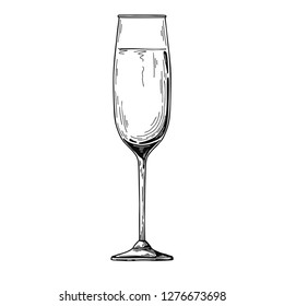 Champagne flute.Vector illustration on white background.