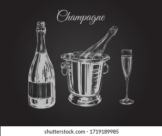 Champagne Glass Bottle Bucket Hand Drawing Vector Illustration Bubbles. Alcoholic Drink.