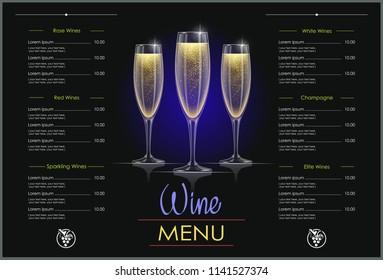 Champagne glass. Concept design for wines menu in dark background. Drink list. Alcohol beverage. EPS10 vector illustration.
