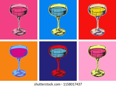 Champagne Glass Hand Drawing Vector Illustration Alcoholic Drink. Pop Art Style.