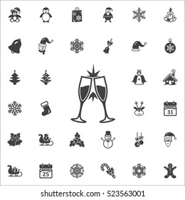 Champagne glass icon. New Year set of icons. Christmas holidays