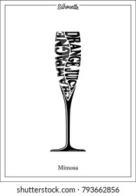 Champagne glass, Silhouette, Mimosa, typography, black color