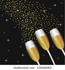 champagne glass with stars to celebrate holiday