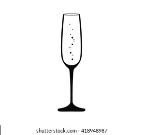 Champagne glass vector. Champagne glass icon. Champagne icon.