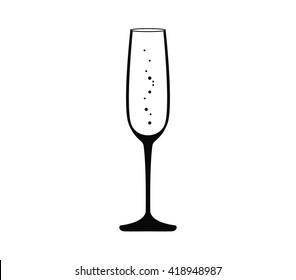 Champagne glass vector. Champagne glass icon. Champagne icon.  Wine glass. Sparkling wine vector illustration.