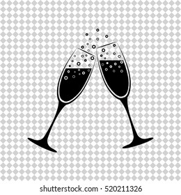 Champagne glasses - black  vector icon
