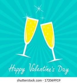 Champagne glasses. Blue background. Sunburst . Happy Valentines Day card. Vector illustration.