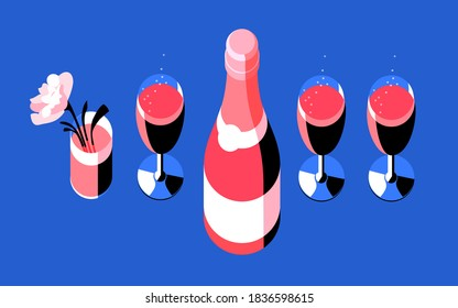 Champagne glasses and bottles, flower in glass, top view. Vector illustration