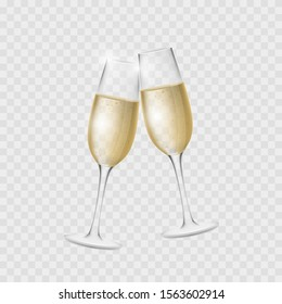 Champagne glasses. Cheers. Congratulations. Vector