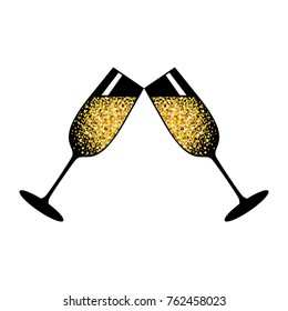 Champagne glasses icon. Golden bubbles of air, a festive toast, a reason for joy. Flat vector cartoon illustration. Objects isolated on white background.