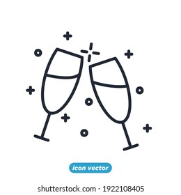 champagne glasses icon. champagne glasses party festival symbol template for graphic and web design collection logo vector illustration
