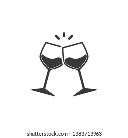 Champagne glasses icon. Glasses with wine in flat style. Vector illustration