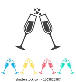 Champagne glasses multi color icon set. Simple glyph, flat vector of wedding icons for ui and ux, website or mobile application