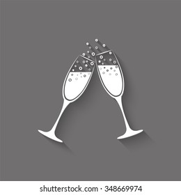 champagne glasses vector icon with shadow