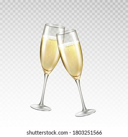 Champagne or golden wine glasses isolated on transparent background. Vector greating Happy New Year alcohol toast wineglass. 3d festive wedding event elements with champagne drink