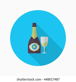 Champagne icon, Vector flat long shadow design. Racing concept.