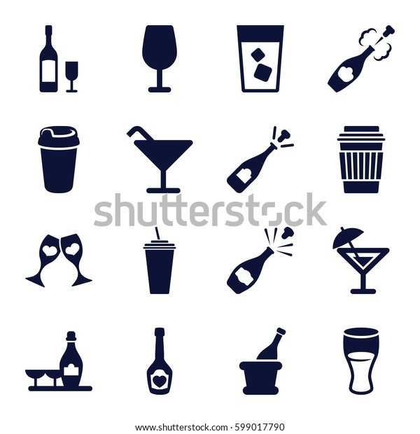champagne icons set. Set of 16 champagne filled icons such as Cocktail, drink, clink glasses, wine glass and bottle
