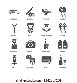 Champagne, Medal, School bus, Diploma, Jacket, Camera, Merit icon 16 set EPS 10 vector format. Icons optimized for both large and small resolutions.