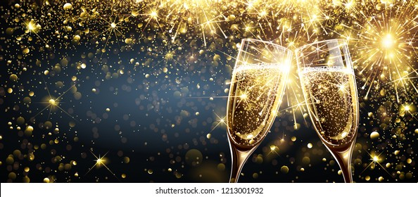 Champagne on Bright Background with Bokeh Effect and Magic Firework Explosion of Sparkler. Vector illustration