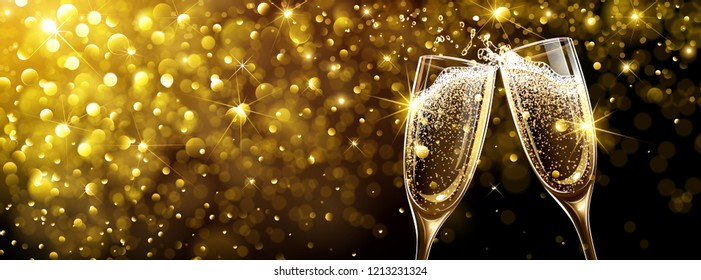 Champagne on Bright Background with Bokeh Effect. Vector illustration