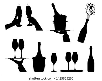 Champagne.  Set  different options  champagne explosion, champagne bottle in bucket with ice. Hands holding glasses of champagne. Elements  festive design. Isolated black silhouette. Vector
