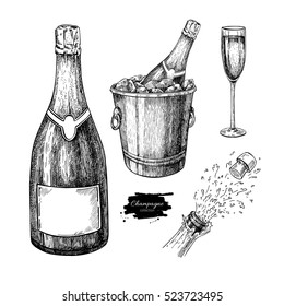Champagne Set. Champagne glass, bottle, ice bucket and explosion. Hand drawn isolated vector illustration Alcohol drink in engraved style Beverage sketch Great for bar and restaurant menu, celebration