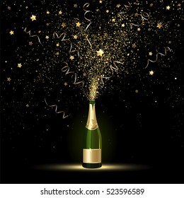 Champagne splashes of gold confetti on a black background