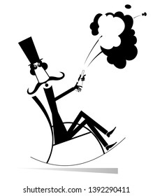Champagne splashes and long mustache man in the top hat illustration. Mustache man in the top hat sits in the rocking chair and opens a bottle of wine or champagne black on white