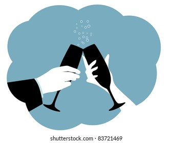 Champagne Toast Silhouette Two hands make a toast.