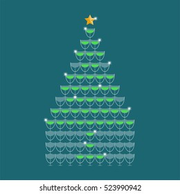 Champagne tower yellow color and star gold color made christmas tree illustration flat design isolated on dark blue color background