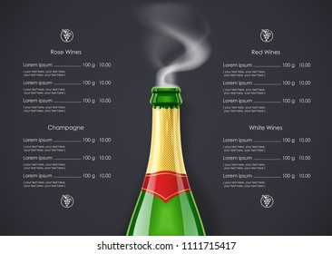 Champagne Wine bottle with smoke concept design for Wines list in dark background. Drink menu. Bottled alcohol beverage. EPS10 vector illustration.
