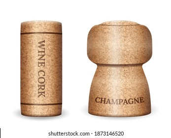Champagne and wine cork on a white background. Vector illustration.