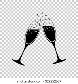 champange glasses vector icon - black illustration