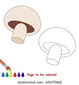 Champignon Mushroom to be colored, the coloring book for preschool kids with easy educational gaming level.
