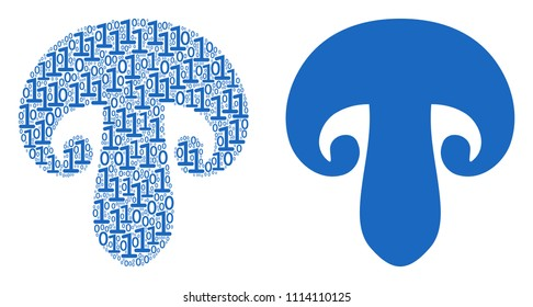 Champignon mushroom collage icon of zero and null digits in variable sizes. Vector digital symbols are formed into champignon mushroom illustration design concept.