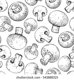 Champignon mushroom hand drawn vector seamless pattern. Sketch food drawing isolated on white background. Organic vegetarian product. Great  for menu, label, packaging, recipe
